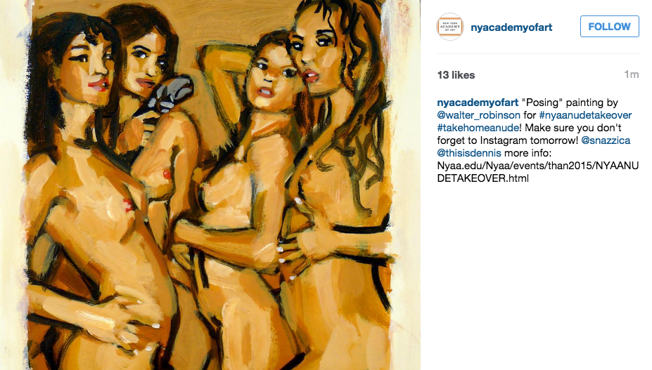 New York Academy of Art Spoofs Instagram Nudity Policies in Honor of Jerry Saltz