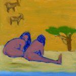 Anastasiya Tarasenko (MFA 2017) 2 Babes, 2 Goats, 2 Men, 2016 oil on aluminum panel 12 x 9 inches