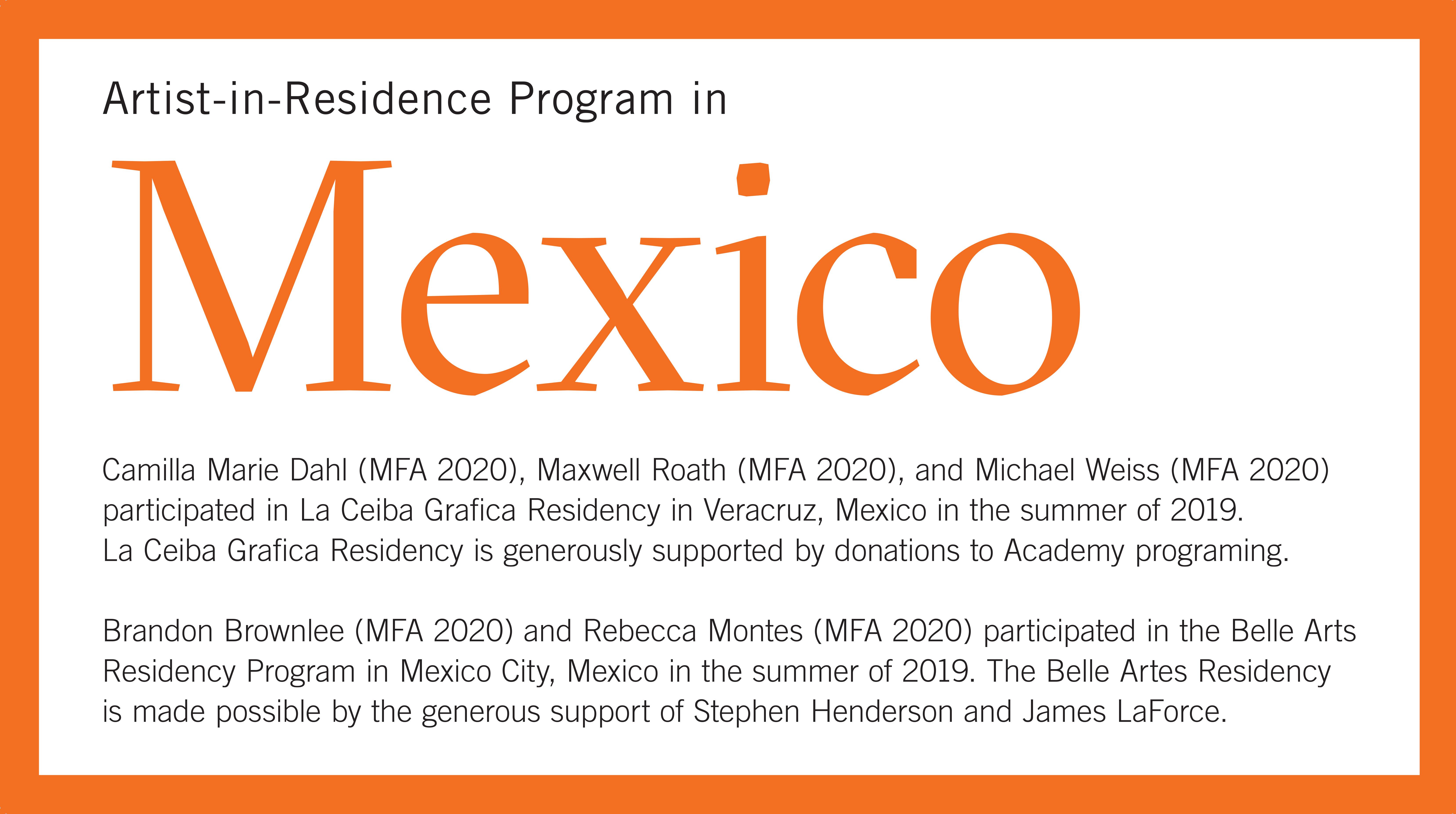2019 Mexico Residency Exhibition