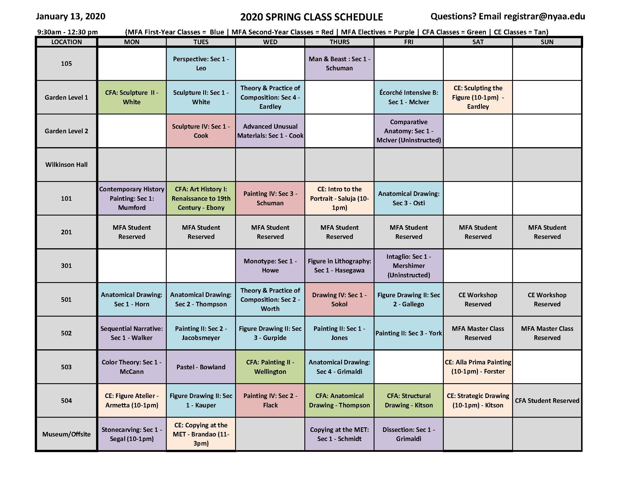 cuny calendar spring 2020